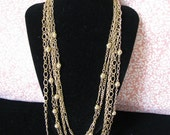 Vintage Multi Strand , Chain Necklace, Jewelry Making, Vintage 1970 Style