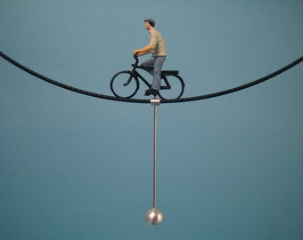 "Tightrope walk  "" MAN ON A BICYCLE"" - Neckwire necklace"
