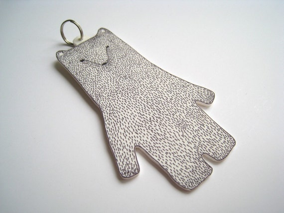 Giant Polar Bear Keyring / Keychain - charm handmade decoration white black grey gray mothers day birthday gift Christmas stocking filler