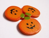 RESERVED - Pumpkin Applique Destash - Halloween - Wood  - 3 pieces - free shipping with another item