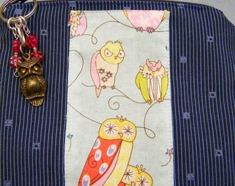 Owls Zippered  Pouch Vintage Style Owl fabric  with bronze colored metal owl zipper pull