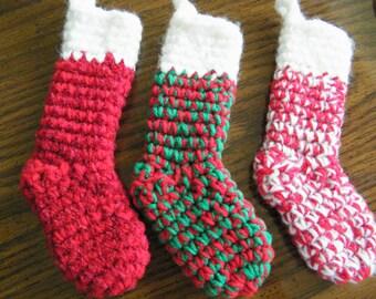 CHRISTMAS STOCKING Silverware Holder Set of 3 Crocheted Stockings