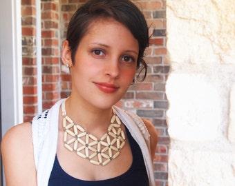 ivory rice wood geometric mosaic necklace