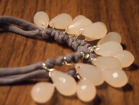 opaque rose quartz hue necklace