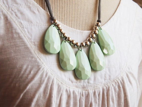 opaque mint seafoam lucite green with grey cotton jersey necklace -- only 6 left