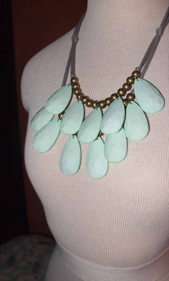 Custom listing for BRANDAGE - opaque mint green double layer bib necklace