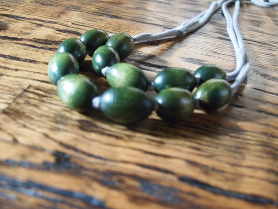 earthy green wooden bib necklace