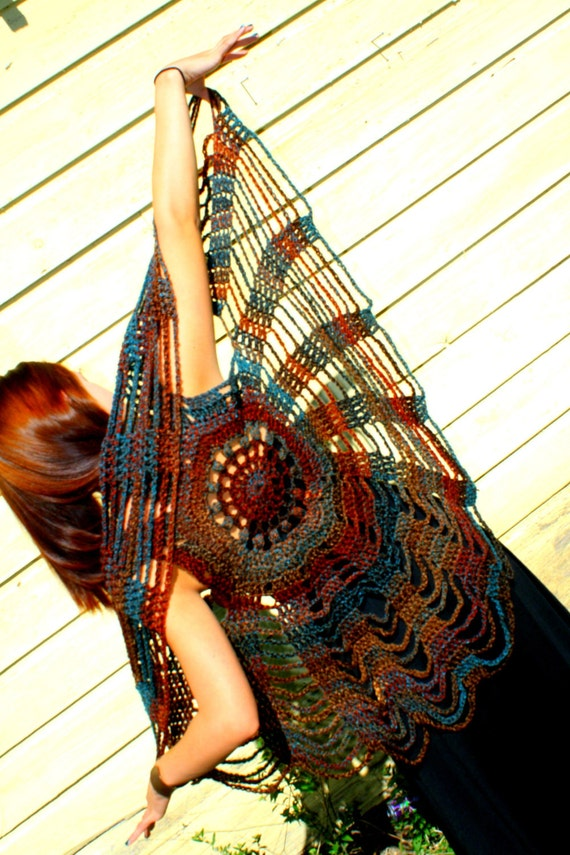 Earth Child crochet spider web vest / mandala circle vest / chunky shawl / boho hippie shawl in blue brown rust
