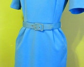 Blue 70s Polyester Dress Small