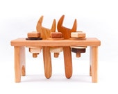 Wooden Toy Workbench in Cherry (Developmental, Montessori, Natural, Wood Toy)