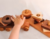 Wooden Toy Truck & Wooden Toy Shape Sorter in Cherry (Developmental, Montessori, Natural, Wood Toys)