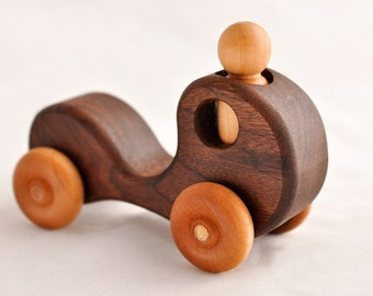 Wooden Toy Kids First Car Walnut With All Natural Finish