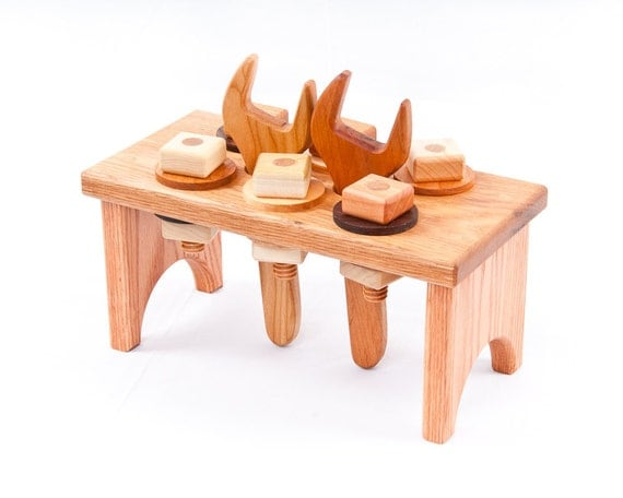 Wooden Toy Workbench in Oak (Developmental, Montessori, Natural, Wood Toy)