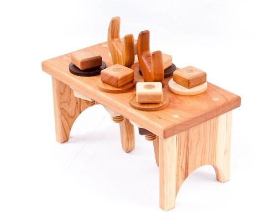 Wooden Toy Workbench in Cherry (Waldorf, Natural, Developmental, Wood Toy)