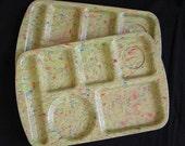 2 Prolon Ware Confetti Cafeteria Trays