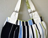Reserved for Andrea -- Bari Small Handbag in Capri Stripe with Retro Green Lining