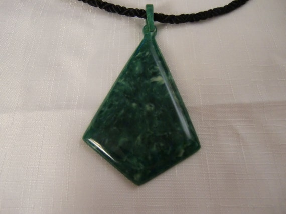 Vintage Celluloid Green Marbled Pendant