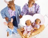 RESERVED FOR LISA Mouse Family 1:12 Scale Miniature Animal Dolls