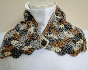 Crochet Earthtone Collar, Neck Warmer, Scarf, Button Cowl,