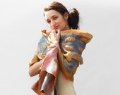 RESERVED Nuno felted scarf Brown Nuno Felted wool shawl with chunky texture multicolor pink blue brown orange white