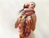 Felted scarf ruffled scarf free shipping orange peach felted long boa scarf with ruffles MADE TO ORDER christmas preview gift guide