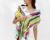 Yellow nuno felted scarf  wool boa scarf multicolor in spring rainbow colors MADE TO ORDER