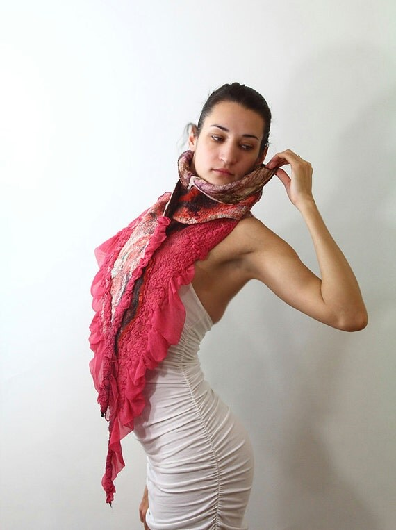 Winter Fashion Nuno Felted scarf chunky black white red raspberry valentine day gift for her under 150 holiday texture