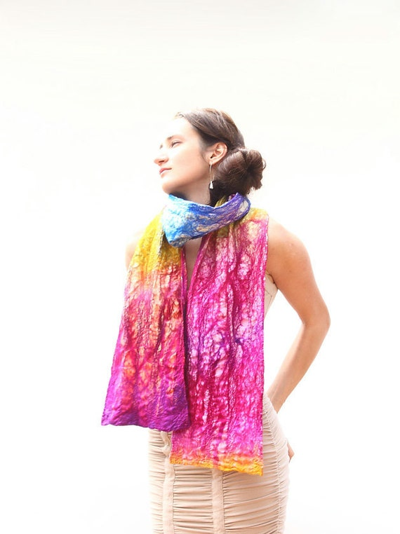 OOAK Nunofelted textured scarf Neon pink Rainbow nuno felted scarf christmas preview gift guide