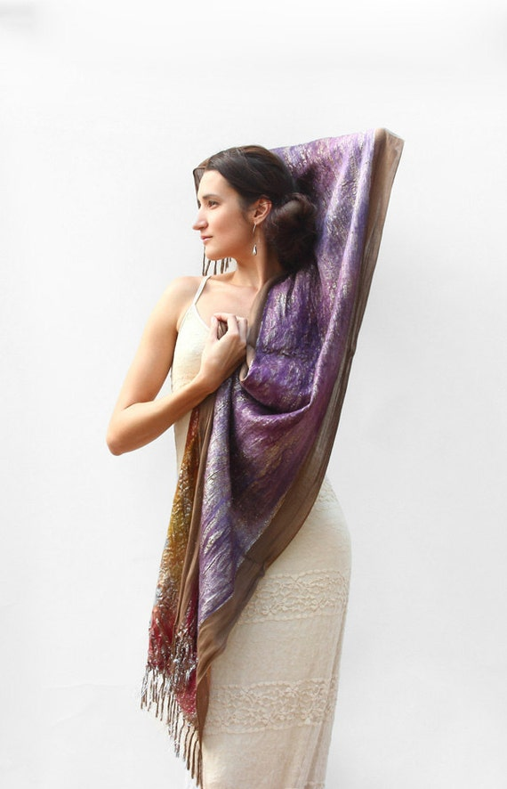 For artists exposed Felted  wrap or shawl in shabby chic style