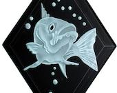 Carved Glass Bass Hanging Suncatcher