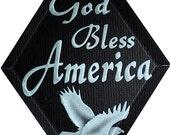 Carved Glass God Bless America Hanging Suncatcher