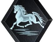 Carved Glass Trotting Horse Hanging Suncatcher
