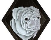 Carved Glass Pug Dog Hanging Suncatcher
