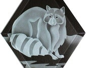 Carved Glass Racoon Hanging Suncatcher