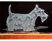 Carved Glass Scottish Terrier Dog in Handcrafted Wooden Base