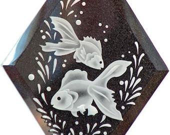 Carved Glass Goldfish Hanging Suncatcher