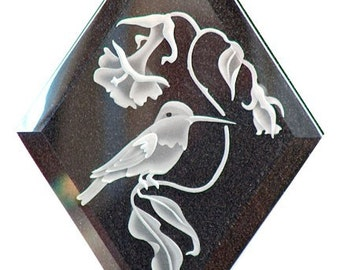 Carved Glass Hummingbird Hanging Suncatcher