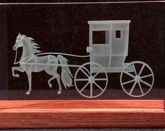 Carved Glass Horse and Buggy in Handcrafted Wooden Base