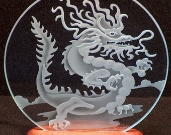 Carved Glass Chinese Dragon 9 in. Circle in Handcrafted Wooden Base