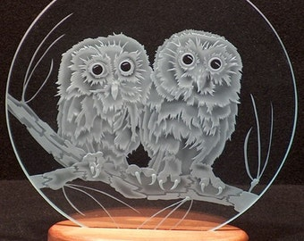 Carved Glass Twin Owls on Branch 12 in. Circle in Handcrafted Wooden Base