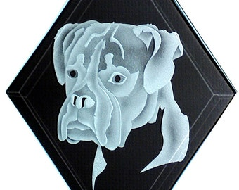 Carved Glass Boxer Dog Hanging Suncatcher