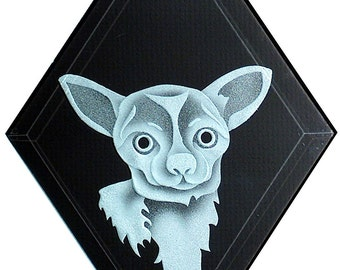 Carved Glass Chihuahua Dog Hanging Suncatcher