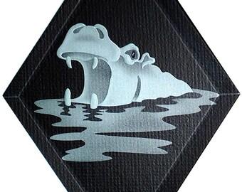 Carved Glass Hippopotamus Hanging Suncatcher
