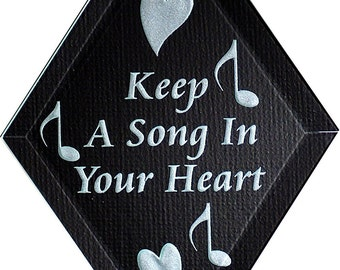 Carved Glass Keep A Song In Your Heart Hanging Suncatcher