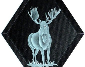 Carved Glass Moose Hanging Suncatcher