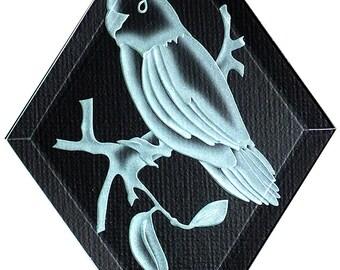 Carved Glass Parrotlet Hanging Suncatcher