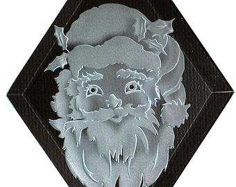 Carved Glass Santa Claus Face Hanging Suncatcher