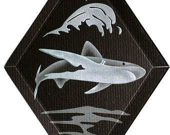 Carved Glass Shark Hanging Suncatcher