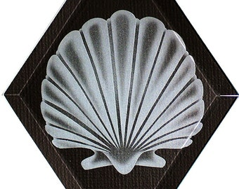 Carved Glass Scallop Shell Hanging Suncatcher