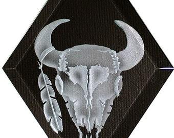 Carved Glass Cow Skull Hanging Suncatcher